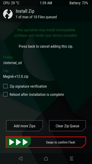 Confirmation for Flashing