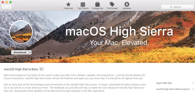 Downloading High Sierra