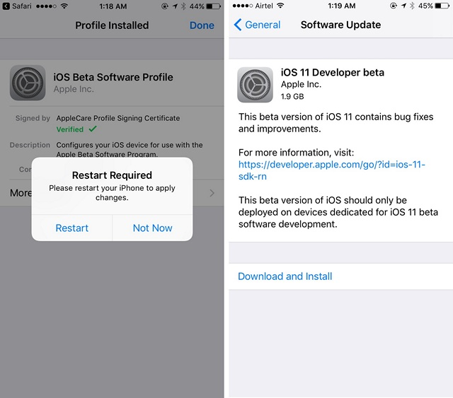 Descarga e instalación de iOS 11 Beta
