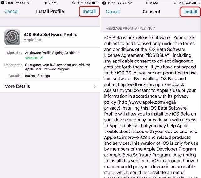 Perfil de software iOS 11 Beta comprimido
