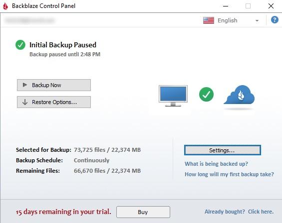 Backblaze Control Panel