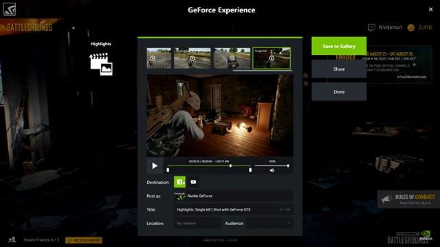 Experiencia GeForce mostrando lo más destacado