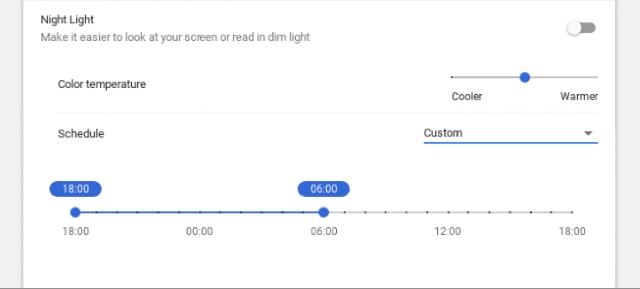 Temperatura y horario de la luz nocturna