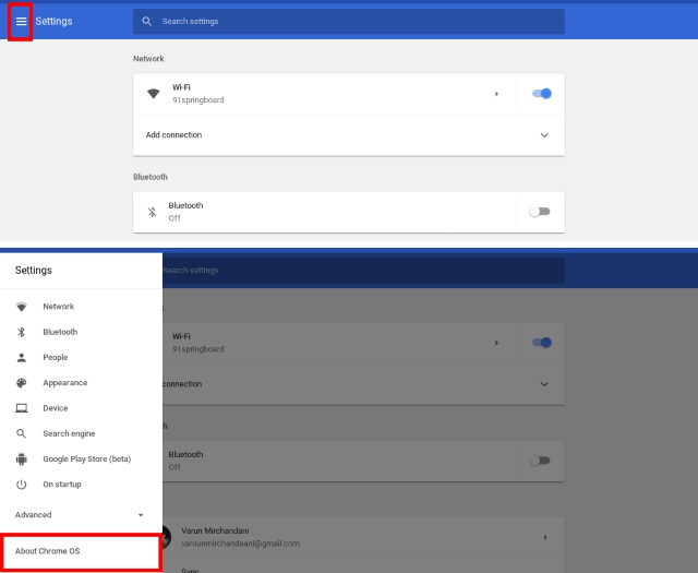 Settings and About Chrome OS