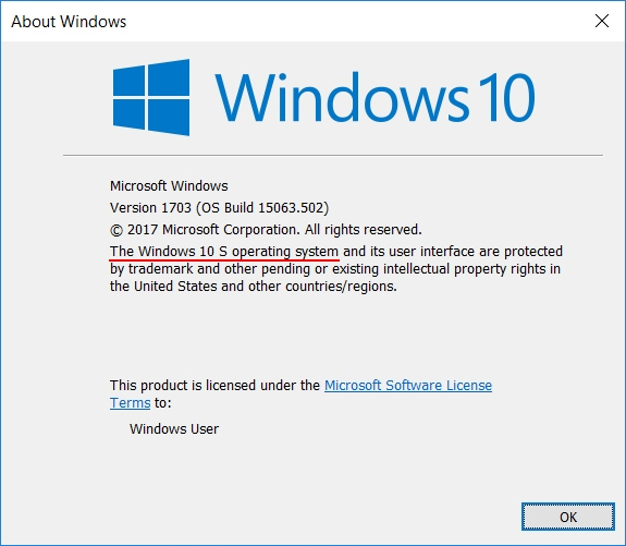Windows 10 S Winver
