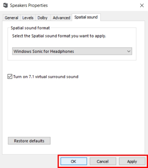Windows Sonic for Headphones Apply and Ok