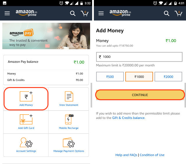 Oct 24,  · Amazon Pay Add Money Offers: Add Rs or more and get Rs cashback. This offer is valid from 1 March to 15 March. It is for all users. A user can avail this offer only one time. In this offer, you will get flat Rs cashback on adding money to your Amazon Pay devforum.ml, read Trick To Bypass KYC Or Blocked Wallets | Add Money To Amazon.
