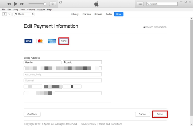 Change the Payment Information to None