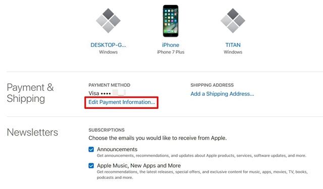 Editar información de pago Sitio web de ID de Apple