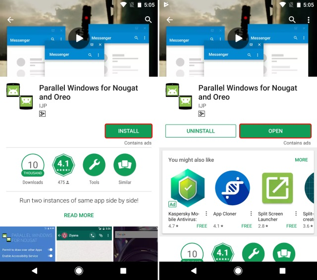 Installing Parallel Windows for Nougat and Oreo