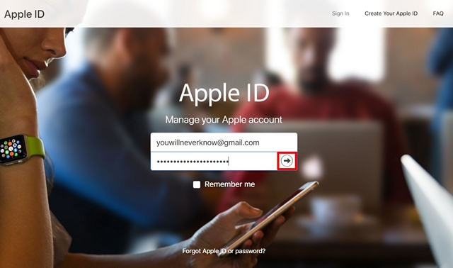 Log on to Apple ID Website