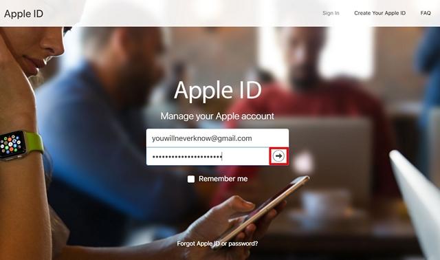 Inicie sesión en el sitio web de ID de Apple