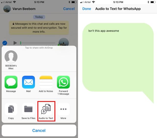 Notas de voz convertidas a texto iOS