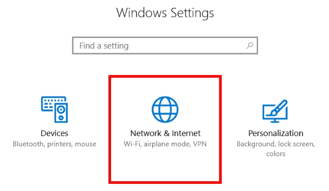 Settings - Network and Internet