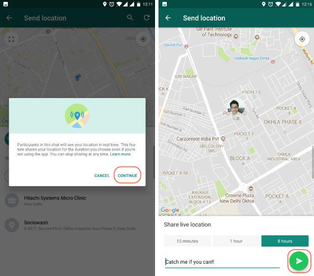 WhatsApp live location step 3