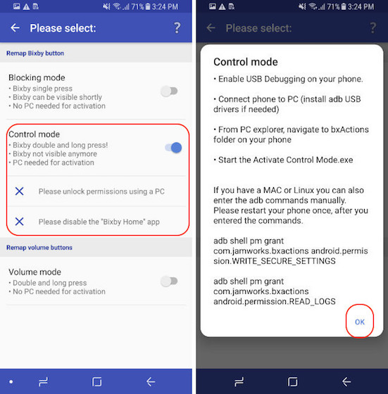 Remap The Bixby Button - Control Mode - Step 2