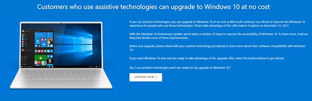 Mise à niveau Windows 10 gratuitement