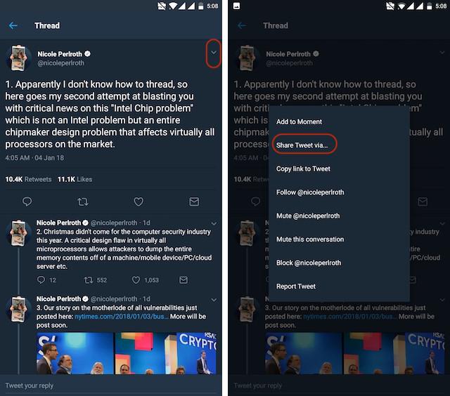 Uso de la aplicación de Android Thread Reader, paso 2