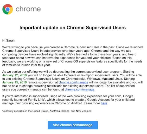 Chrome Parental Control going away