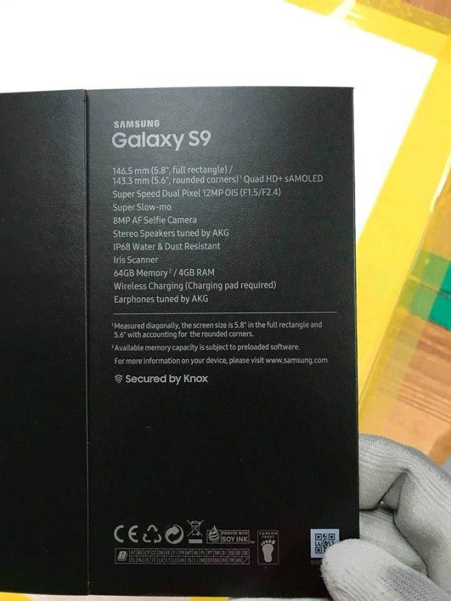 galaxy s9 retail box