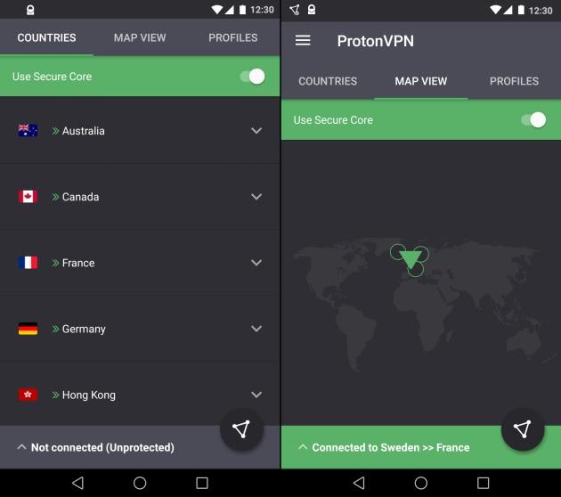 protonvpn screengrabs