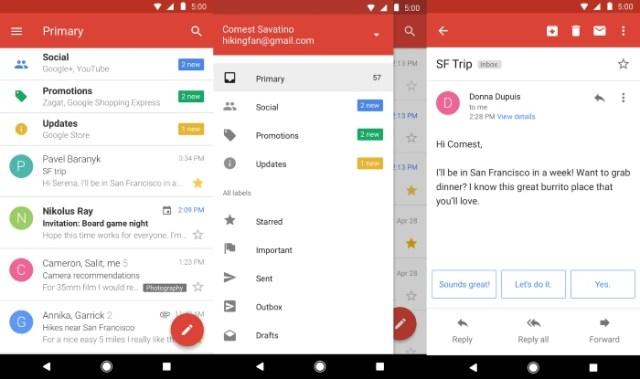 Gmail Go Screens