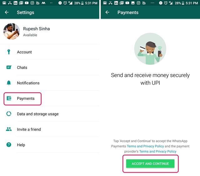 Pagos de WhatsApp UPI 1