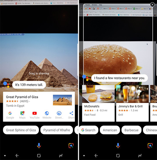 Google Lens on Samsung Galaxy S9, S8, and Note 8
