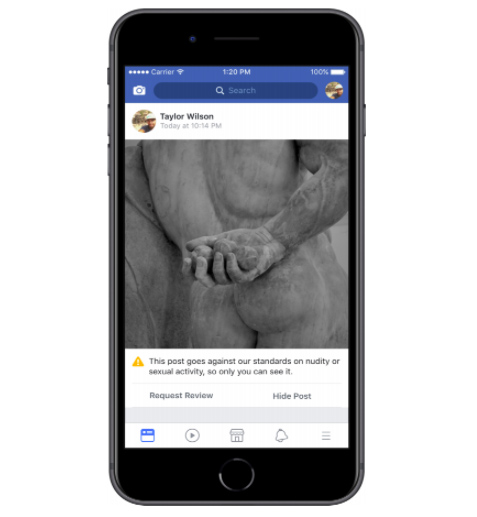 Facebook's example for a post that could have been incorrectly removed, which can now be appealed under the new rules.