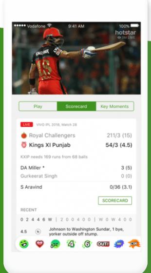 Hotstar's new in-match UI for IPL 2018 (Image: Hotstar)