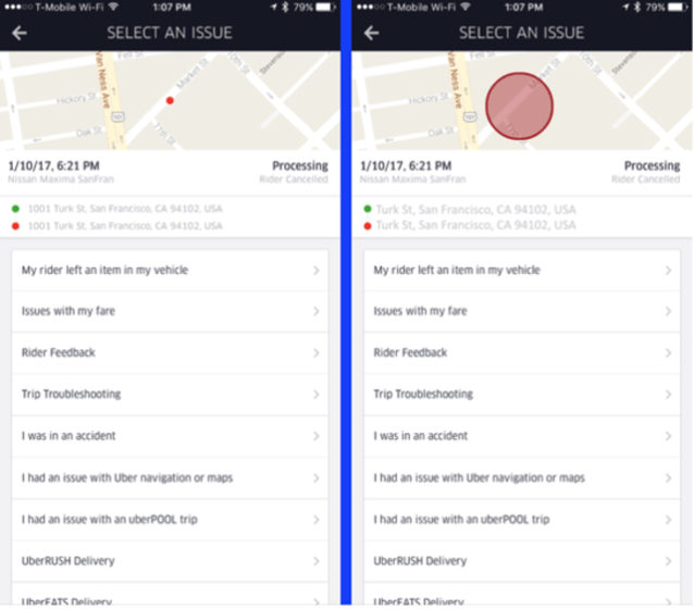 This is what driver are likely to see when they check their trip history (Image: Gizmodo)
