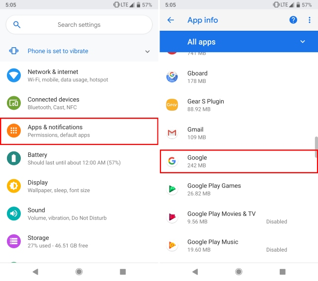 Apps and notifications Google