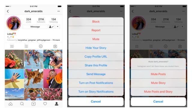 instagram mute profiles