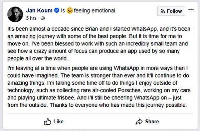 WhatsApp Founder Jan Koum Quits Facebook After Clashing Over Privacy, Encryption