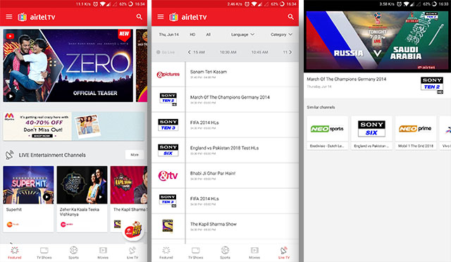 FIFA World Cup Airtel TV app screenshots