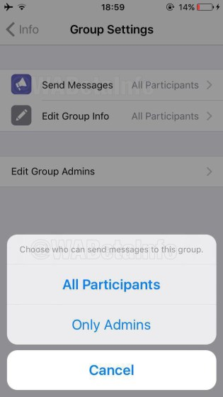 Send Messages setting on iOS app