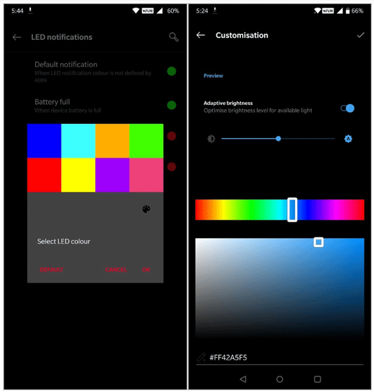 Theme settings for accent colours in OnePlus 6 Android P Beta 2 (Image: XDA Developers)