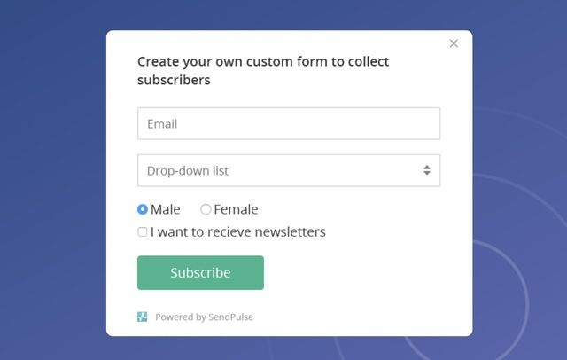 1. Subscription form
