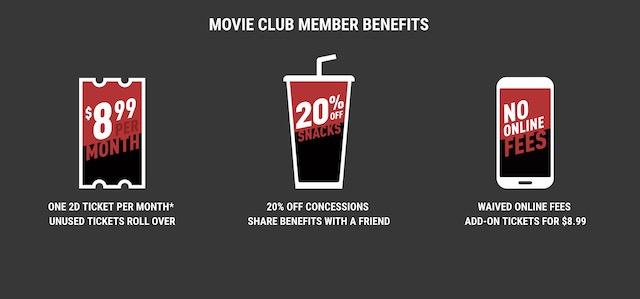 3. Cinemark Movie Club