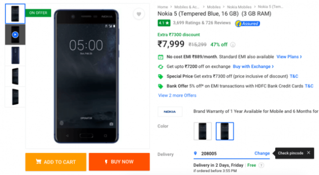 Deal: Grab the Nokia 5 For Just Rs 7,999 Right Now on