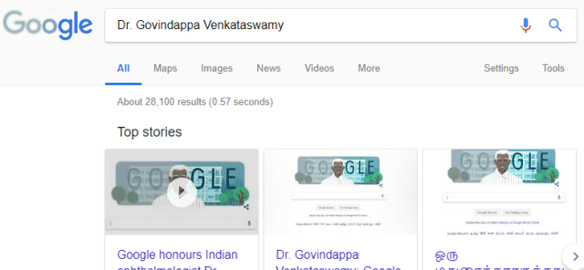 The mini doodle on the Google search results page