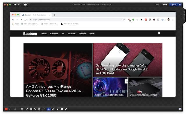 Ventana de edición de captura de pantalla de Monosnap