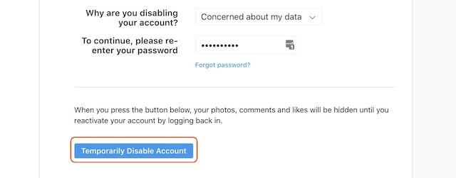 Disabel Instagram accont 5