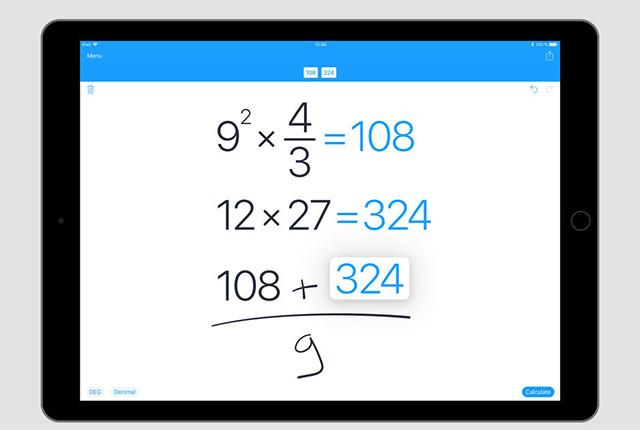 MyScript Calculator - Лучшие приложения Apple Pencil