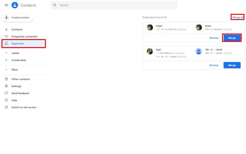 Fusionar contactos en la Web de contactos de Google