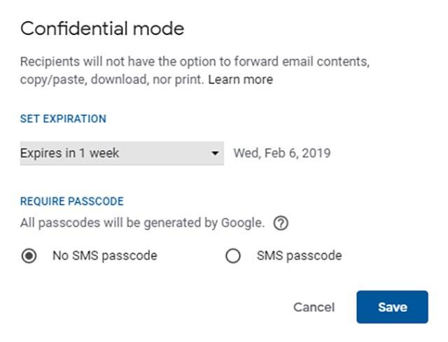 Gmail Конфиденциальный режим