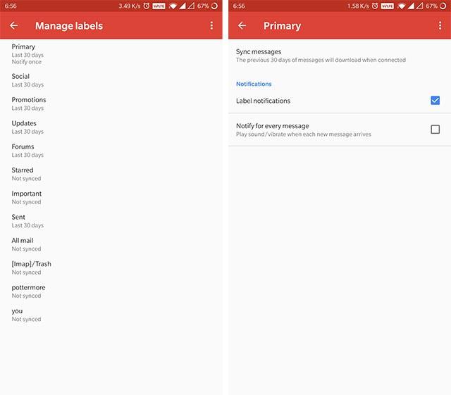 Gmail Label Уведомления Android
