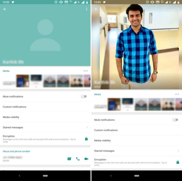 WhatsApp Profile Page