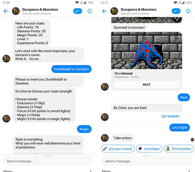 скриншот бота мессенджера подземелья и монстры