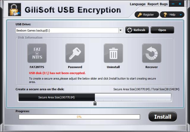 Шифрование USB-накопителей gilisoft